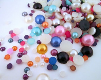 Multicolor Mixed Round Pearl Cabochons, 4-12mm, 150-300 pieces