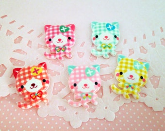 Resin Gingham Kitty Cat Kawaii Cabochons, Multicolor Decoden Cabs, 21x30mm, #359a