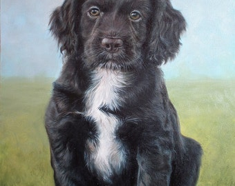 Custom Dog portrait, Pet portrait, Dog Painting - oil painting on stretched canvas, from your photographs.