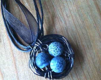 Bird's Nest Wire Wrapped Necklace with Stone Beads on an Organza Cord
