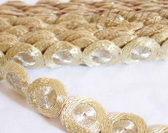Gold Circular-Round Cut work Sari Border Trim Indian Craft Ribbon Sewing Gift Wrapping Lace AN0087