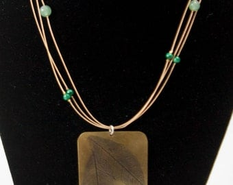 Brass Two Leaf Print Necklace With Malachite and Aventurine