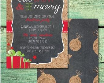 Chalkboard & Cork Christmas Invitation