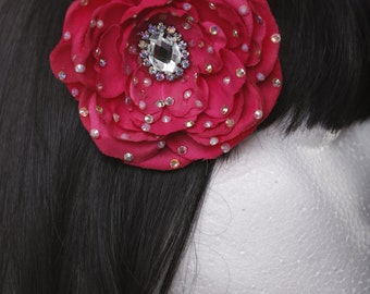 Pink Bridal Prom Pinup Showgirl Burlesque Hair flower