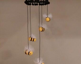 Bumble Bee Baby Mobile, Bumble Bee Nursery Decor, Needle Felted Bee Mobile