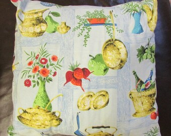 1950s/60s classic kitchen-print barkcloth fabric cushion