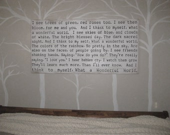 What a Wonderful World Song Lyric distressed shadow box wood sign *Inspirational Handmade wood sign 24x48