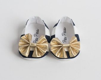 Baby Shoes Baby Girls Shoes Toddler Girls Shoes Soft Sole Shoes Summer Shoes stripes Shoes With Gold Bow Navy and White Shoes Nautical Shoes