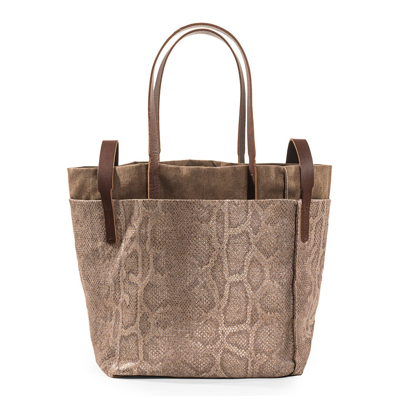 snake fabric bag brown tote bag big brown bag by kisimbags