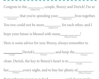 Bridal Shower Mad Libs / Wedding Mad Libs
