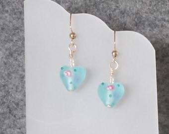 Lampwork Aqua Blue Heart Earrings