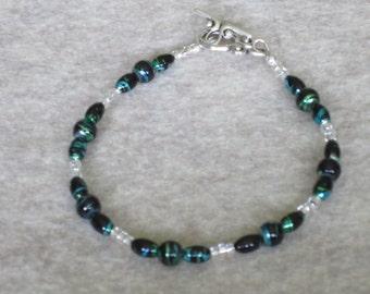 Metallic Blue and Green Swirl Bracelet