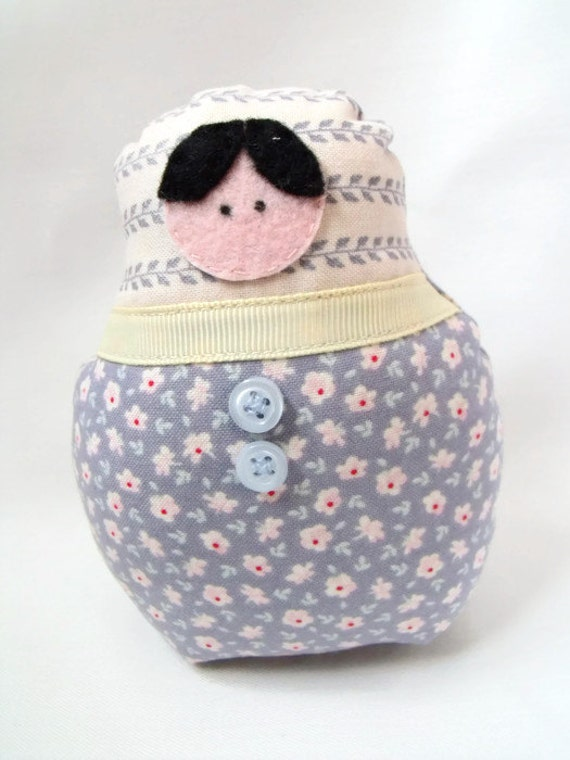"""kawaii doll, zakka doll, matryoshka babushka russian nesting doll, tilda floral fabric, home decor 5"""""""