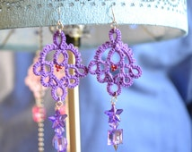 Purple Hand Tatted Lace Earrings with Spike Star Charms