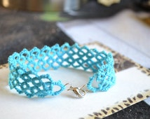 Bright Blue Hand Tatted Lace Bracelet