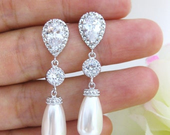 Bridal Pearl Earrings Swarovski Crystal Teardrop Pearl Earrings Cubic Zirconia Wedding Jewelry Bridesmaid Gift Bridal Earrings (E089)