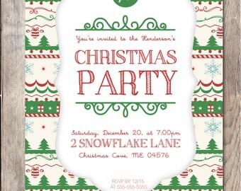 Christmas Party Invitation, Printable Christmas Invitation, Holiday Party Invitation, Holiday Party, Christmas Party Invitation, Custom