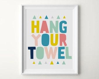 Bathroom Rules, Hang Your Towel, Bathroom Decor, Kids Bathroom Wall Decor, Printable Nursery, Toilet Decal, Bathroom Signs, Nursery Bathroom