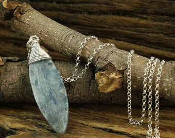 "Silver Kyanite Necklace, Bold Kyanite Pendant, Hand Wrapped, 925 Sterling Silver, 20"" Silver Chain, Kyanite Gemstone Y822"