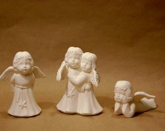 Set Of 3 Ceramic Angels Unpainted Ceramic Christmas Figures