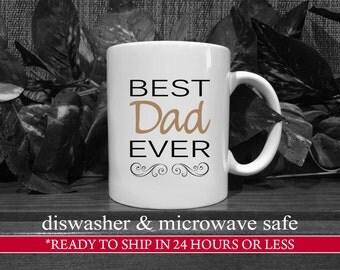 SALE - 15oz. Black/Sand Best Dad Ever Coffee Mug, Gift For Dad, Dad Birthday Gift, Dad Coffee Mug, Unique Dad Gift, Dad Present