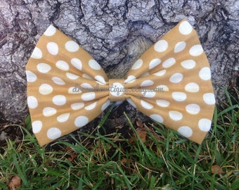 Mustard Yellow Polka Dot Hair Bow, Mustard Yellow Hair Bow