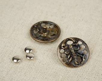 12Pcs Antique Brass  Scorpion Round Rivet / Leather Rivet / Round Stud