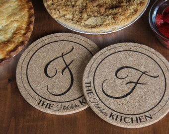 Personalized Kitchen Hot Pads - Set of 2 - Fletcher Style 7 inch