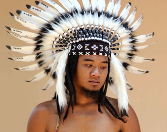 ON SALE indian headdress  replica, black and white, short length, warbonnet native american style,
