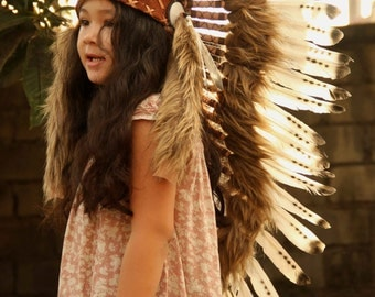 ON SALE Kids feather headdress, medium length, indian inspired headdress, native american style warbonnet