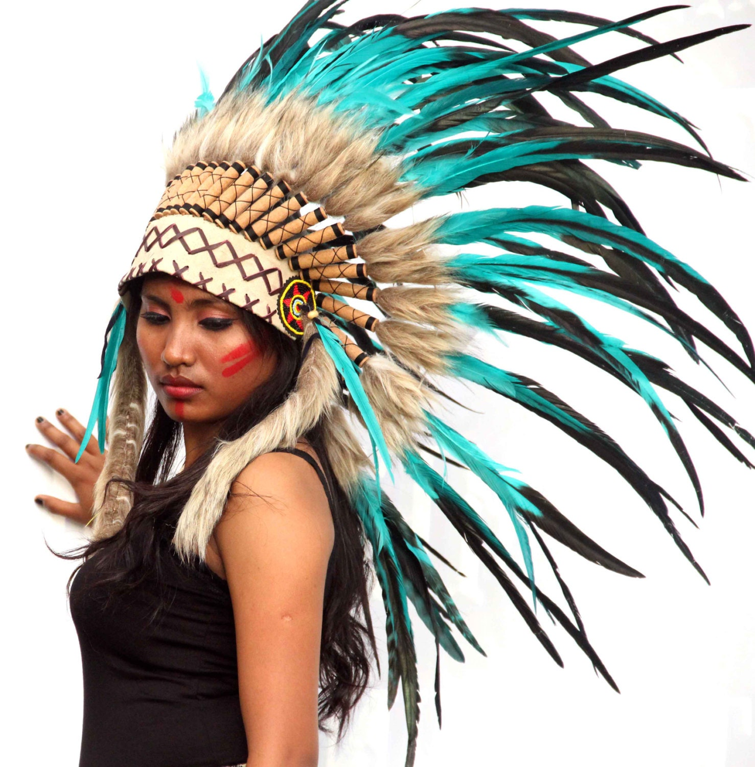 ON SALE Green teal feathers indian inspired headdress short