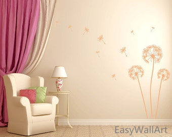 Dandelion Wall Decal, Dandelion Decal, Dandelion Wall Art, Vinyl Dandelion Wall Decor, Flower Dandelion Wall Sticker for Bedroom #F59