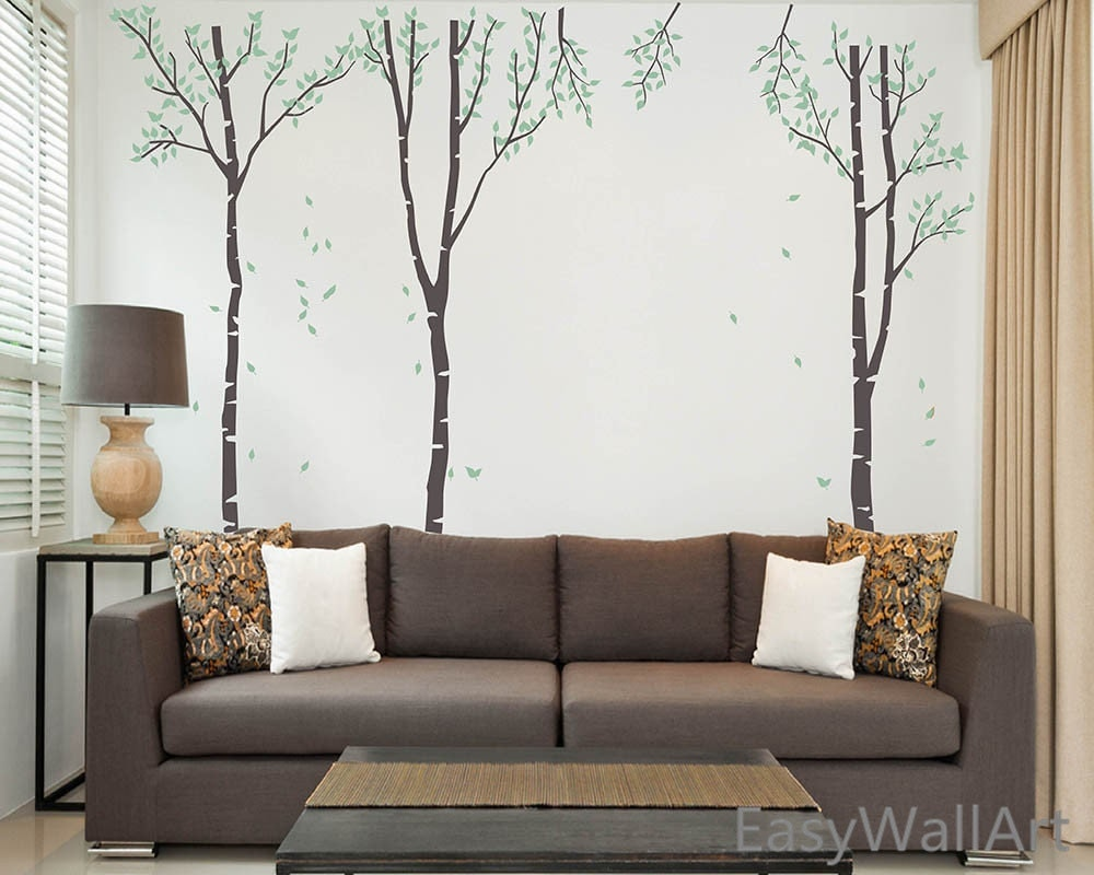 birch tree wall decal white birch wall decal with leaves for. Black Bedroom Furniture Sets. Home Design Ideas