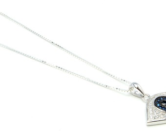 Evil Eye Sterling Silver Necklace  Free Shipping ! Free Gift Bag !