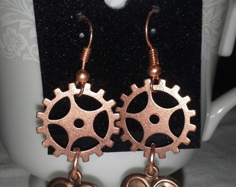 Steampunk With Heart Dangles E176