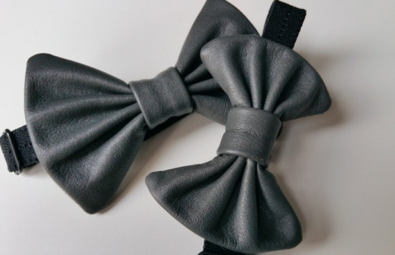 Father & son matching leather bow ties gift set