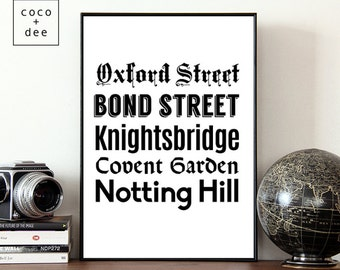 Typographic print, London print, fashion streets, London streets, shopping print, fashion quotes, modern prints, oxford street, travel print