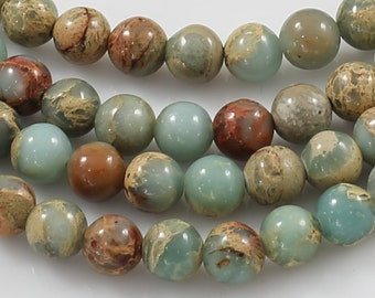 NATURAL AFRICAN OPAL Sea Sediment Jasper smooth round sizes 4mm, 6mm, 8mm, 10mm, 12mm- In Full 15.5 inch Strand- Wholesale Pricing