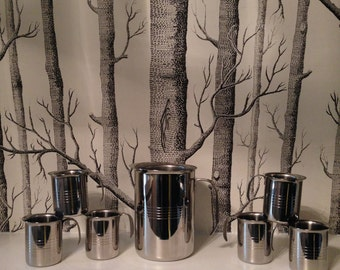 Vintage Mid Century Stainless Steel Pitcher with 6 Matching Cups made in Barcelona Set