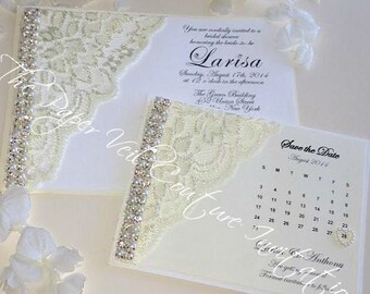Glitz and Glamour Vintage Lace Collection 2 - White, Ivory & Cream - Couture Wedding Invitation