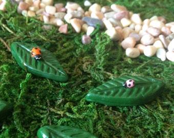 Miniature Lady Bug on a Leaf, Fairy Garden Figurine, Tiny Collectable, Terrarium Accessory, Woodland Sculpture