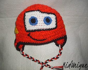 Crochet lightening McQueen hat, Cars hat, Toddler boys hat, newborn hat, Newborn photo prop, McQueen earflat hat