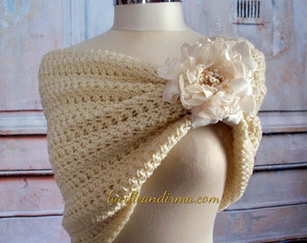Wedding Shrug Bridal Shawl Off White Wedding Bolero Stole Caplet Portrait Ivory Stole Shoulder Wrap Ivory Shoulder Cover With Flower Brooch