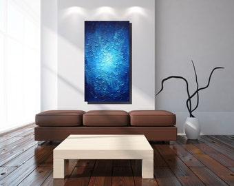 Original EXTRA LARGE Blue Wall Art Textured Painting Canvas Blue Abstract Painting Impasto Large Artwork Home Office Painting Blue Interior