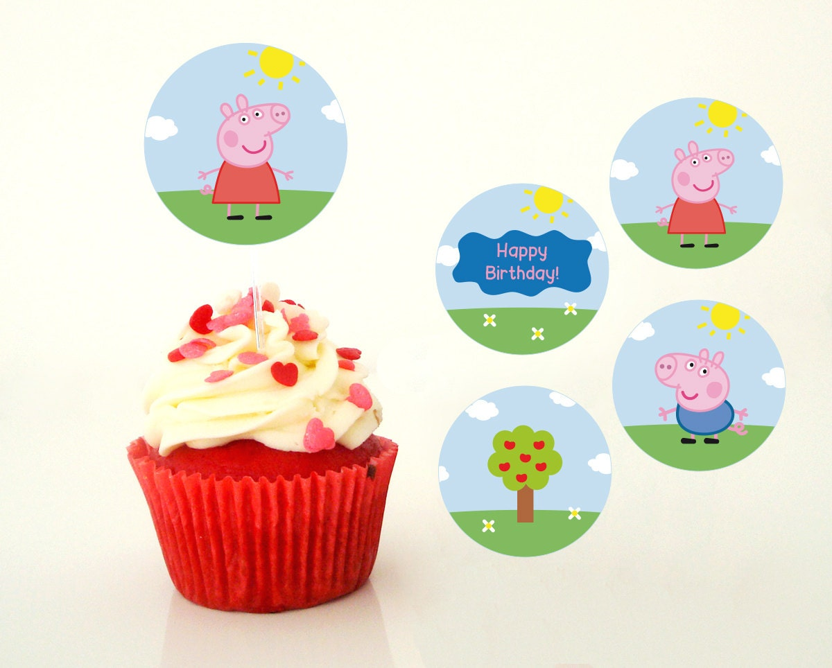 Peppa Pig cupcake topper peppa pig birthday by PaperPartyDesign