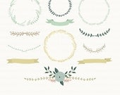 Vintage Laurels Clipart. Laurel Wreaths Clipart. Floral Clipart. Wedding Clipart. 12 images, 300 dpi. Eps, Png files. Instant Download.