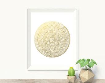 Mayan Calendar Faux Gold Foil Art Print - Wall Art - Home Decor - Office Decor