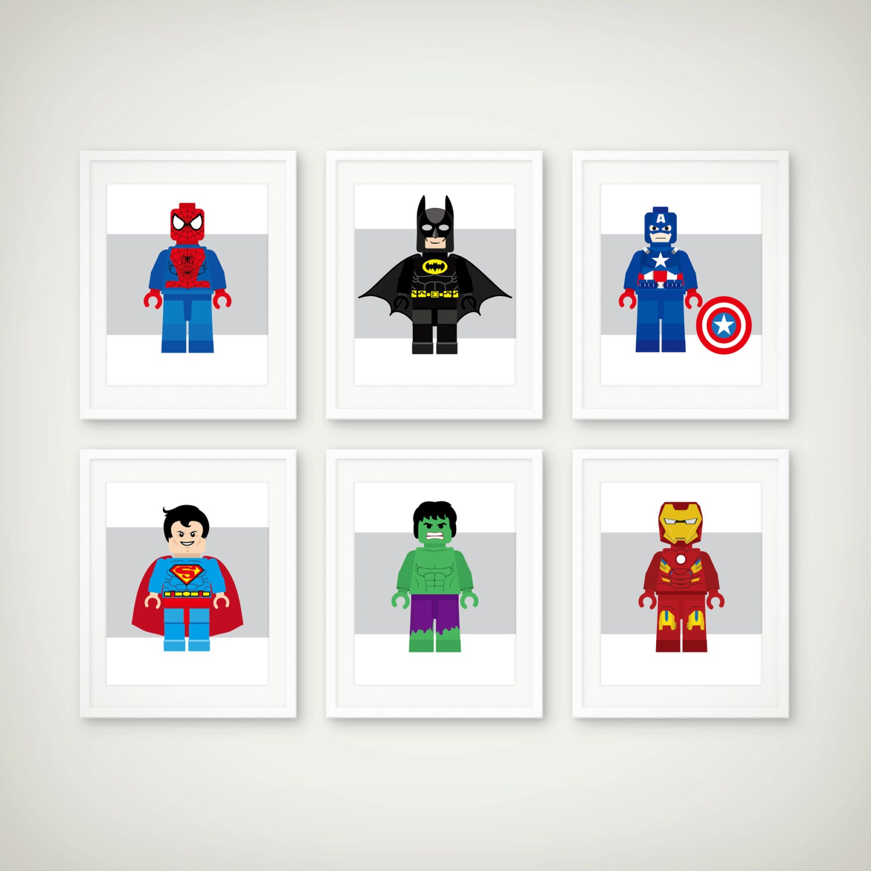 Superhero art print set toddler room decor by dcastudio on for Superhero bedroom decor