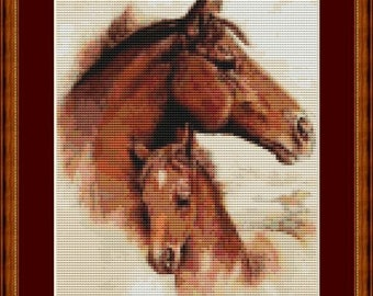 Mother's Love Brown Mare and Foal Horses Counted Cross Stitch Pattern in PDF for Instant Download
