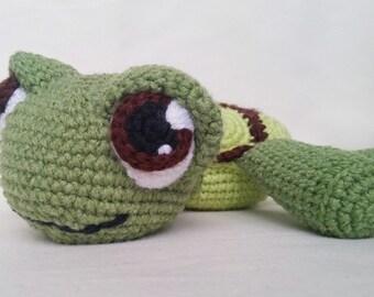 Hand crocheted amigurumi toy tortoise/turtle. Hand made with soft cotton yarn.